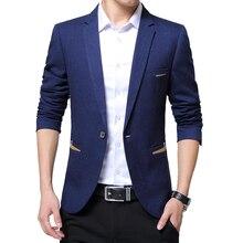 Moda nowych mężczyzna casualowa marynarka Slim Fit Masclulino karbowany kołnierzyk jednolity kolor garnitur w stylu Business Casual Blazer Men