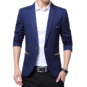 Image 1 - Moda yeni erkek rahat Blazer Slim Fit Masclulino çentikli yaka düz renk iş günlük giysi Blazer erkekler