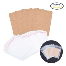 200Pcs Earring Display Card Blank Kraft Paper Tag Self-Seal Bags Package Y4QB
