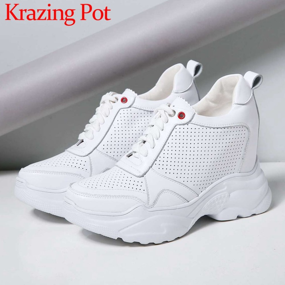 Featured full grain leather super high bottom platform solid casual shoes well ventilated lace up female