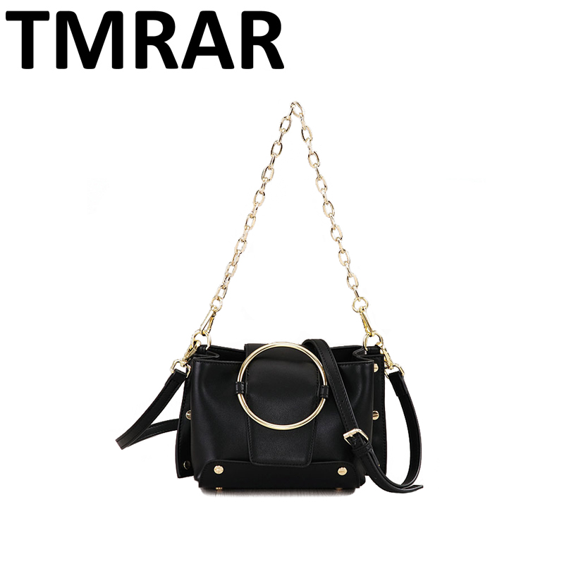 2018 New classic chain messenger bags with metal ring lady genuine leather handbags women crossbody bags for female qn233 2017 new classic messenger bags with metal ring popular tote lady split leather handbags women chain shoulder bags bolsas qn262