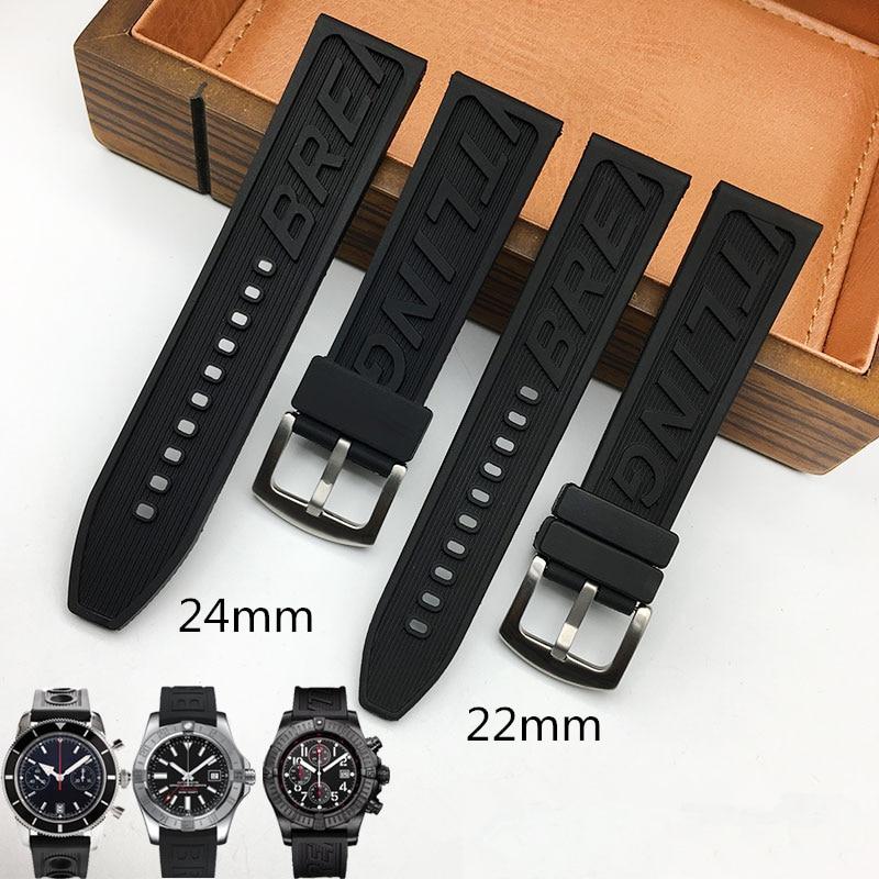 TJP Marques Haute Qualité Caoutchouc Bracelet De Montre 22mm 24mm BlackWatchbands Bracelet Pour navitimer/avenger/Breitling Bracelet