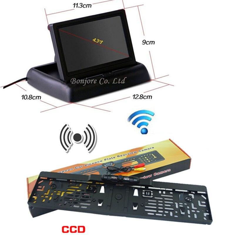 Y-yz aide au stationnement sans fil IR LED vision nocturne caméra de recul + 4.3 TFT LCD moniteur écran caméra de recul système de sécurité