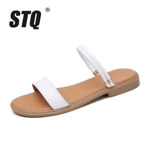 Image 2 - STQ 2020 sandales plates en cuir véritable dété, lanières de cheville, babioles blanches pour dames, 722