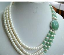 Beautiful Women's Jewelry 3 row white freshwater pearl green bead necklace