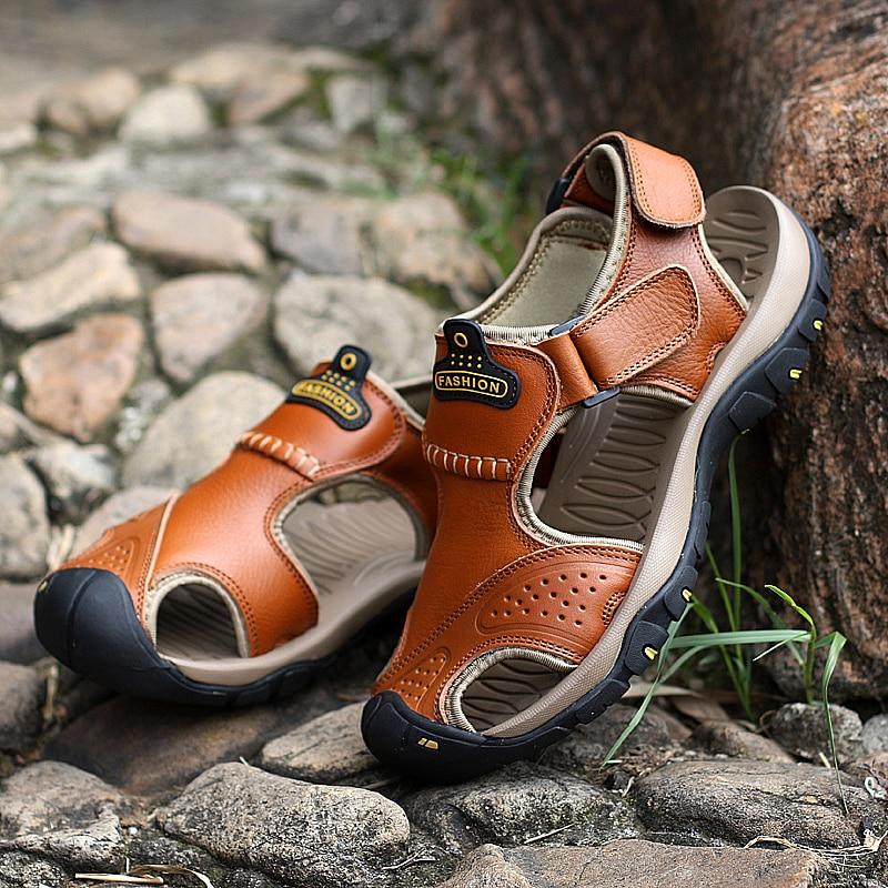 Valstone pria Sandal kulit asli Mewah musim panas sandal kulit alami - Sepatu Pria - Foto 5