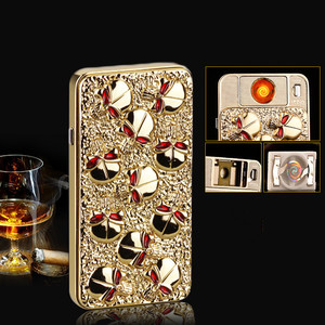 Image 2 - USB Electric Relief Skeleton Lighter Rechargeable Heat Wire Replacement Lighter Windproof Cigarette Turbo Lighter Emboss Gold