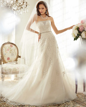 Free Shipping 2015 Factory Made Top Quality Strapless Appliques Beaded Corset Back Sweep Train Formal Women's Bridal Gown Y11575