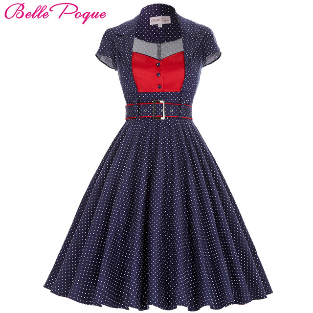 Polka Dot dresses 2017 Summer Women Cotton  Lapel Collar Short Sleeve With Belt 50s Vinatge Rockabilly For Party Pin Up Dress