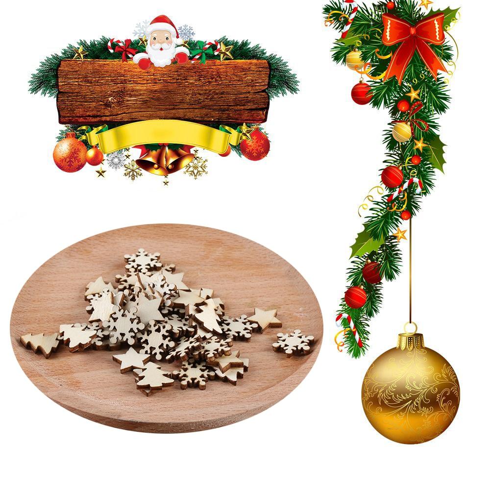 1Set(50Pcs) Natural Wood Chip Ornaments Hot DIY Crafts ...