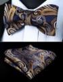 BP823VS Navy Blue Gold Paisley Bowtie Men Silk Self Bow Tie handkerchief set Party  Pocket Square Classic Wedding