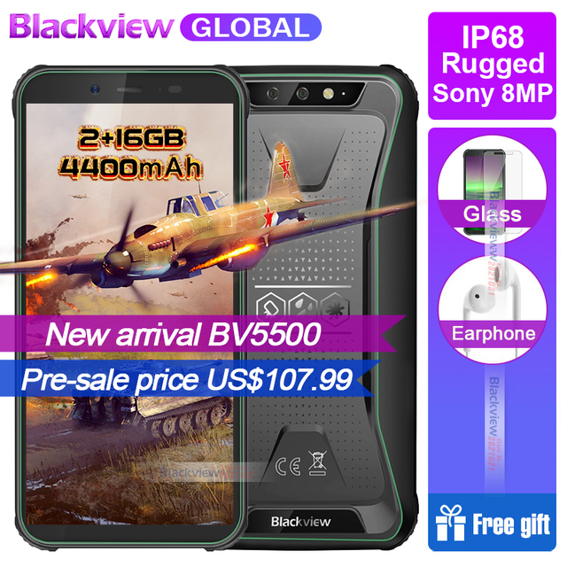 """New Arrival Blackview BV5500 IP68 Waterproof Rugged Smartphone 2GB+16GB 5.5"""" 18:9 Screen 4400mAh Android 8.1 3G Mobile Phone GPS"""