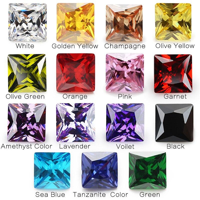 1 pièces par couleurs Total 15 pièces taille 4x4mm ~ 10x10mm forme carrée lâche cubique zircone pierre