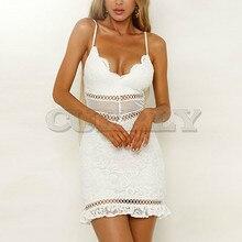 CUERLY Sexy White Women Summer Dress 2019 Backless V neck Ruffle Cotton Lace Dresses Holiday Beach Short Female Bodycon Vestido цена 2017
