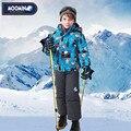 Moomin 2016 new arrival inverno crianças snowsuit caráter poliéster meninos roupas de inverno ao ar livre roupas de inverno definir zíper