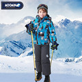 Moomin 2016 nuevos niños de la llegada del invierno snowsuit poliéster carácter muchachos ropa de invierno al aire libre ropa de invierno conjunto cremallera