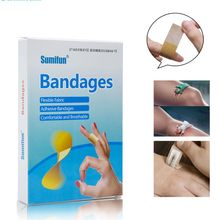100Pcs Medical Anti-Bacteria Curative Wound Disposable Waterproof Adhesive Plaster Hemostasis Sticker Cushion First Aid Bandage