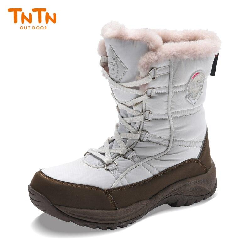 TNTN femmes chaussures de plein air hiver neige randonnée bottes laine neigeux chaud velours femme imperméable chaussures coton bottes pour hommes
