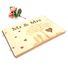 Wedding Signs Wood Signature Guest Book Mrs Mr Photo Frame Rustic Wedding Guestbook Photo Album Party Decoration Favor(China)