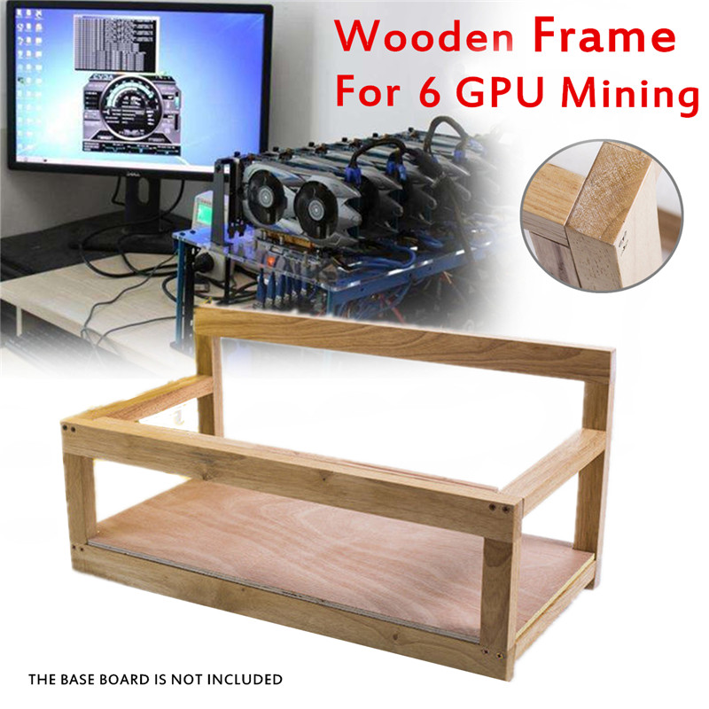 Wooden Mining Gpu Frame Case Up to 6 GPU Mining Rig Steel Coin Open Air Frame Rack For ETH/ZEC/Bitcoin/Litecoin Kit