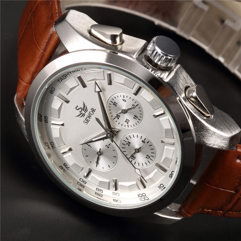 SEWOR Brand Classic Brown Leather Strap Date Day Display Montre Homme Male Auto Mechanical Watch