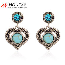 HONGYE 2018 New Vintage Chic Women Black/Blue/Pink/Orange Opal Heart-shaped Stud Earring Jewelry Gift Wedding/Party Accessories(China)