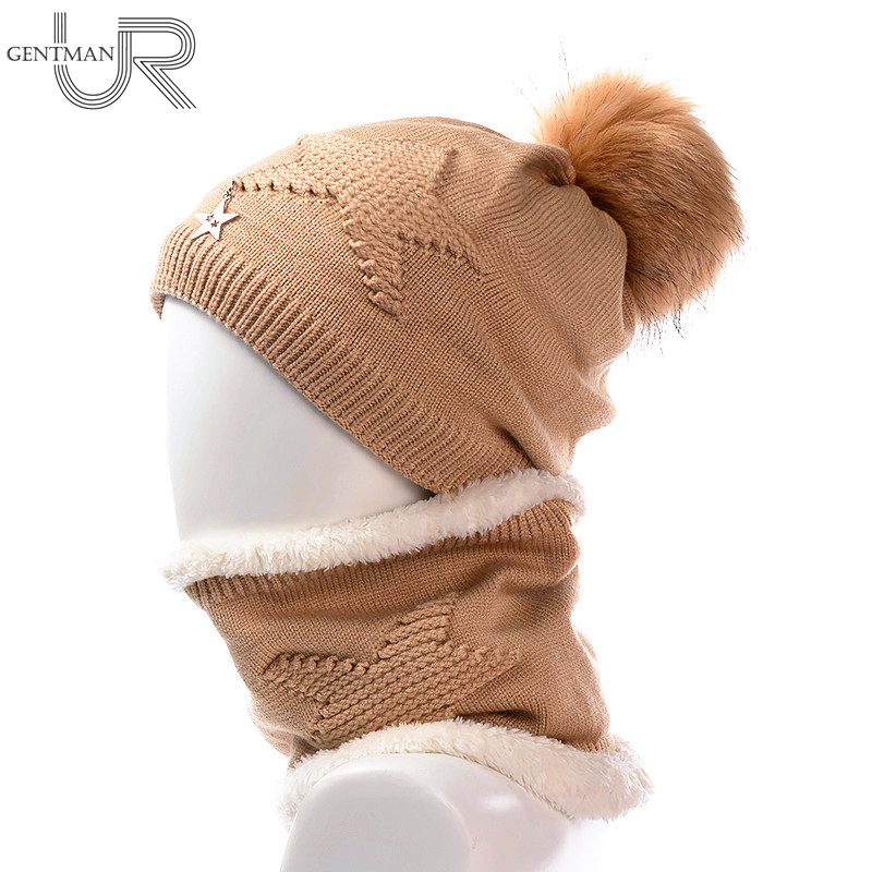 Newest Women Soft Winter Hat And Neck Collar Scarf Five Star Knitted Hat Fashion Pomspoms Hats For Women Add Fur Warm Beanie Cap tascam ak dr11g