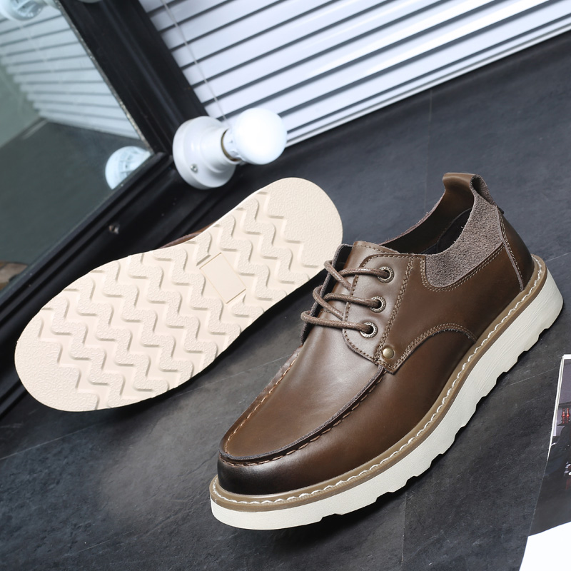 Black Brown Leather Men's Shoes 2018 Summer Crazy Horse Leather Low - Men's Shoes - Photo 4