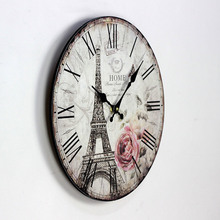 2016 New Clock Wall Hot Style Eiffel Tower In Paris Fashion British Solid Wood Wall Clock Suitable for Cafes Restaurants Bars nostalgic old bars restaurants bars personal art flowers glass chandeliers multicolor optional