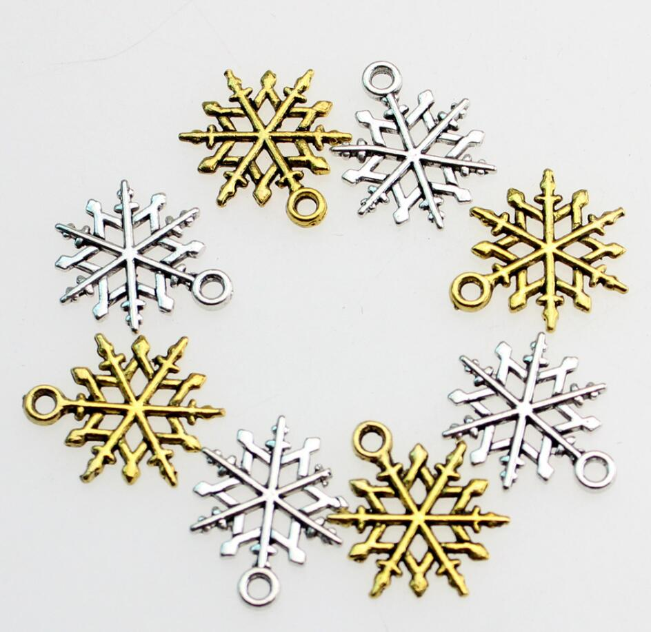 100pcs Gold/Silver Tibetan Silver Snowflake Pendant For Craft Sewing DIY Project Decoration Christmas Series