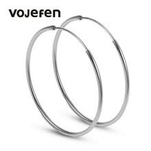 VOJEFEN 925 Sterling Silver Hoop Earrings 40 mm Hypoallergenic Flattened Round silver for Women Girls Fine Jewelry