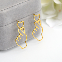 цена на Creative Abstract Hand Shape Heart Stud Earrings Bijoux Sweet Temperament Stud Earrings For Young Girl Jewelry Accessories Gifts