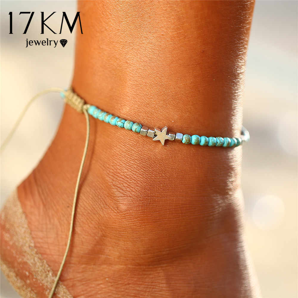 17KM Bohemian Beads Star Rope Anklets For Women Handmade Charm Anklet  Bracelets 2018 Beach Jewelry Adjustable 1f529fc9fb20