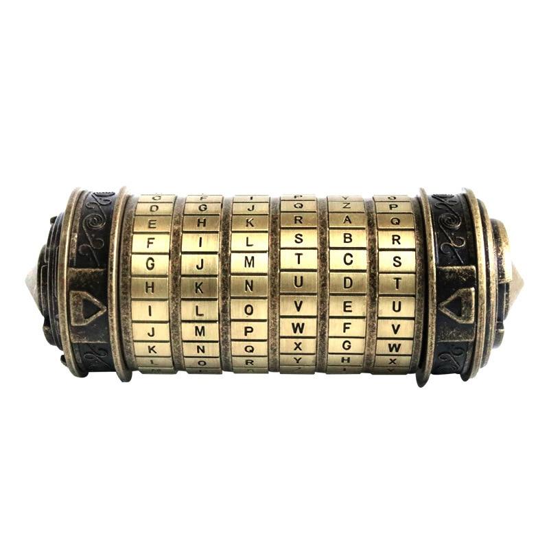 Leonardo Da Vinci Code Cylinder Puzzle Lock Alloy Zinc Mini Cryptex Valentine's Day Romantic Birthday Gifts Escape Chamber Props(China)