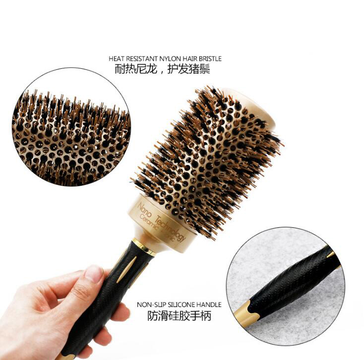 Image 5 - 5 size Ceramic Iron Hair Brush Anti static High Temperature Resistant Round Barrel Comb Hairstyling Drying Curling Tool-in Combs from Beauty & Health
