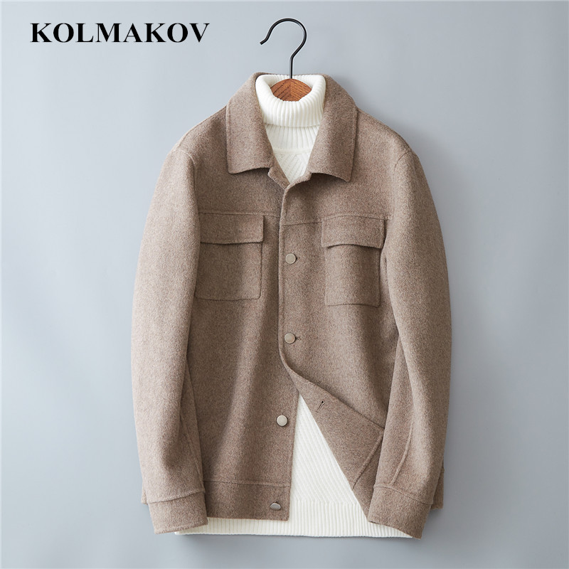 KOLMAKOV 2019 New Mens Short Woolen Coats Double-Faced Wool Outerwear Coats Top Quality Spring Windbreakers Homme Jackets Men