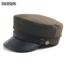 SILOQIN Women's Elegant Trend Flat Cap Unisex British Retro Army Military Hats Dad Brand Caps Simple Vintage Visor Hat For Men men visor cap security guard hat army caps men military police hats for cosplay halloween christmas festival gift