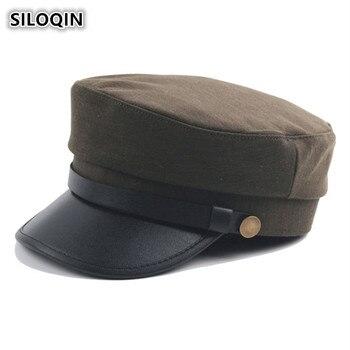 SILOQIN mujer elegante tendencia gorra plana Unisex británico Retro  ejército militar sombreros papá marca gorras Simple Vintage visera sombrero  para hombres 1deabd7049f