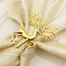 12PCS Napkin Ring Christmas Hotel Set Table Circle Deer Paper Towel Gold Silver