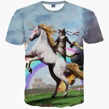 Newest Round neck Men/women 3d t-shirt short sleeve summer t shirt print cat horse scenery space galaxy t-shirt tops tees R14