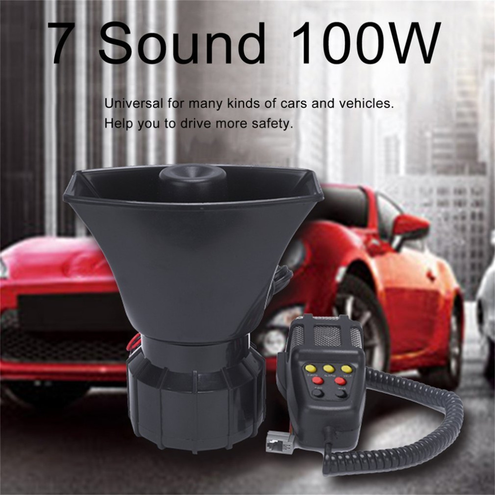 7 Sound 100W loudly Electronic Car Loud Warning Alarm Motorcycle Horn With Microphone Loudspeaker Police Fire Alarm PA Speaker