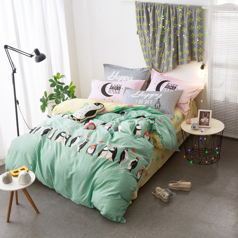 Cartoon Cute Penguin Light Green Bedding Sets Queen Full Double Twin Size  New Cotton Bedlinens Duvet Cover Sheet Pillow Cases In Bedding Sets From  Home ...