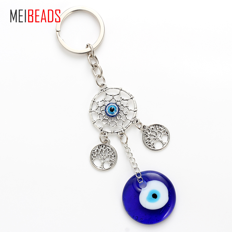 MEIBEADS Evil Eye Alloy Tree Blue Round Glass Eye For Key Decoration Pendants Fashion Accessories Creative Novelty Gifts EY4717
