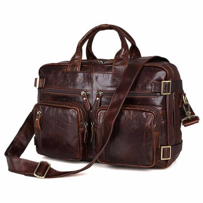 2017 Luxury Real Genuine Leather Men Bags Business Laptop Briefcase Tote Bag Multi-fuction Handbags Men's Travel Shoulder Bag все цены