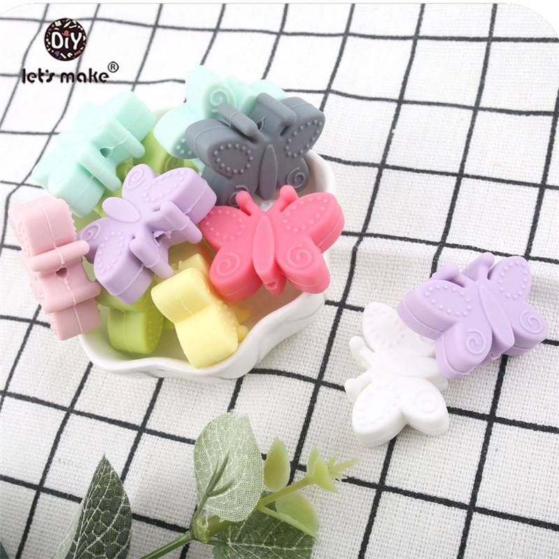 Let s Make Silicone Butterfly Bead 100pc Baby Nursing Accessories Teething Jewelry Silicone Chewing Making Jewelry