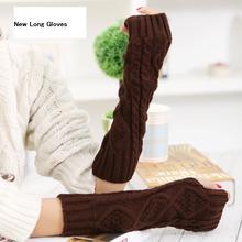 Women gloves Stylish hand hotter winter lengthy gloves Arm Crochet Knitting fake Wool Mitten heat Fingerless Gloves gants femme