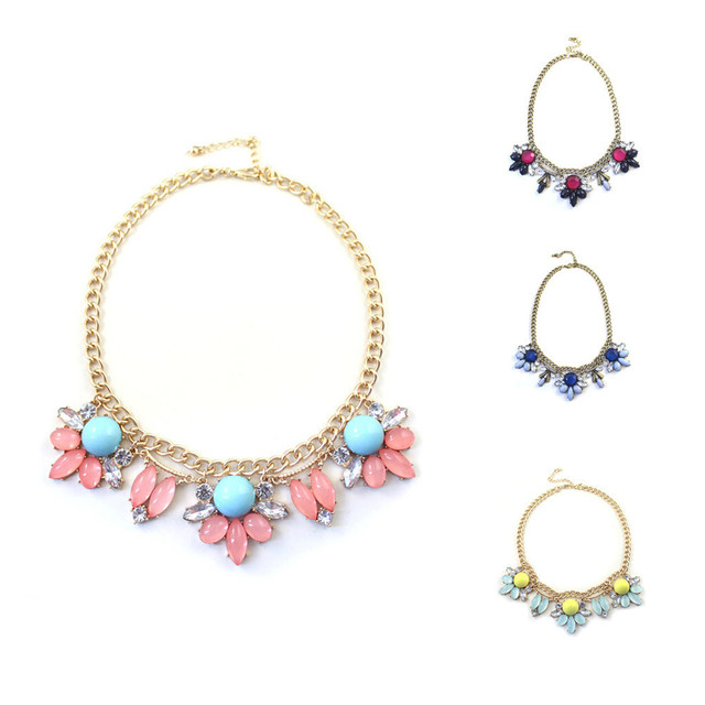 Flower Choker Necklaces Trendy Rhinestone Floral Statement Necklace Fashion Jewelry (4 Colors)
