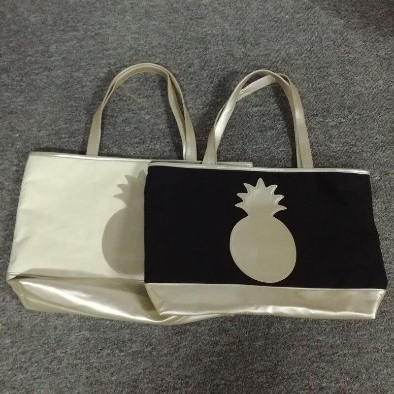 Leinwand Patchwork Strandtasche Handtasche Tasche Beige Ananas Silber Mit Griff Pu Dom106520 Große Einkaufstasche black rEa6qrBw