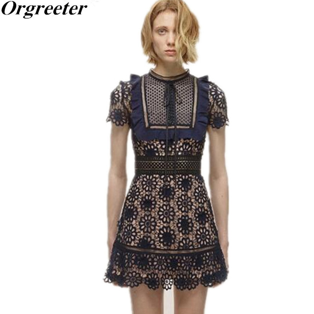 e4b23091c84c Self Portrait Runway Lace Dress Women Blue Hollow Out Crochet Louisa  Guipure A-Line Dresses Party Vestidos