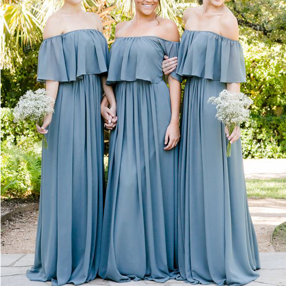 superkimjo bridesmaid dresses off the shouler ruffle a line chiffon long maid of honor 2019 wedding party